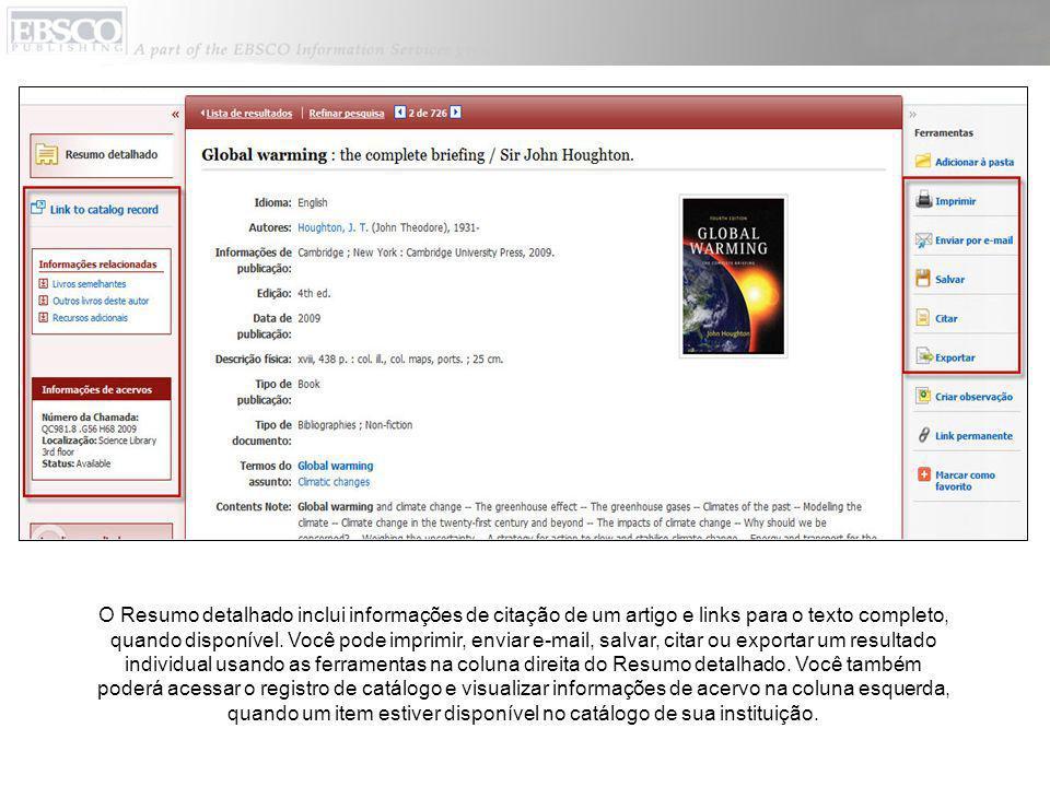 O Resumo detalhado inclui informações de citação de um artigo e links para o texto completo, quando disponível. Você pode imprimir, enviar e-mail, sal