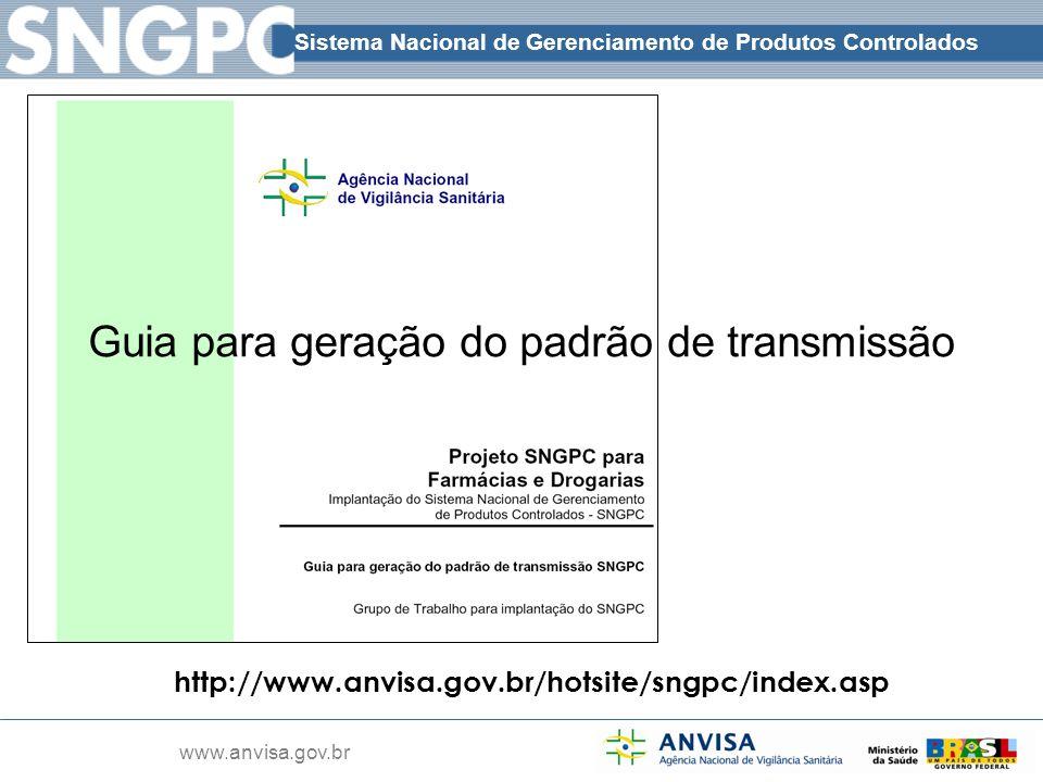 Sistema Nacional de Gerenciamento de Produtos Controlados www.anvisa.gov.br http://www.anvisa.gov.br/hotsite/sngpc/index.asp Guia para geração do padr