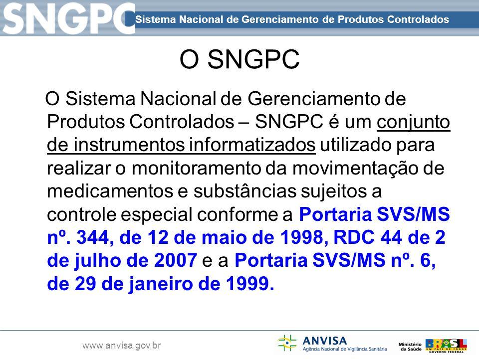 www.anvisa.gov.br O SNGPC O Sistema Nacional de Gerenciamento de Produtos Controlados – SNGPC é um conjunto de instrumentos informatizados utilizado p