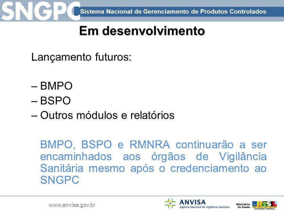 Sistema Nacional de Gerenciamento de Produtos Controlados www.anvisa.gov.br Em desenvolvimento Lançamento futuros: –BMPO –BSPO –Outros módulos e relat