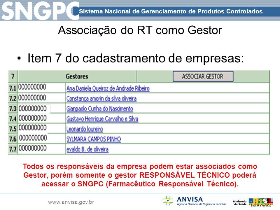 Sistema Nacional de Gerenciamento de Produtos Controlados www.anvisa.gov.br Associação do RT como Gestor Item 7 do cadastramento de empresas: Todos os