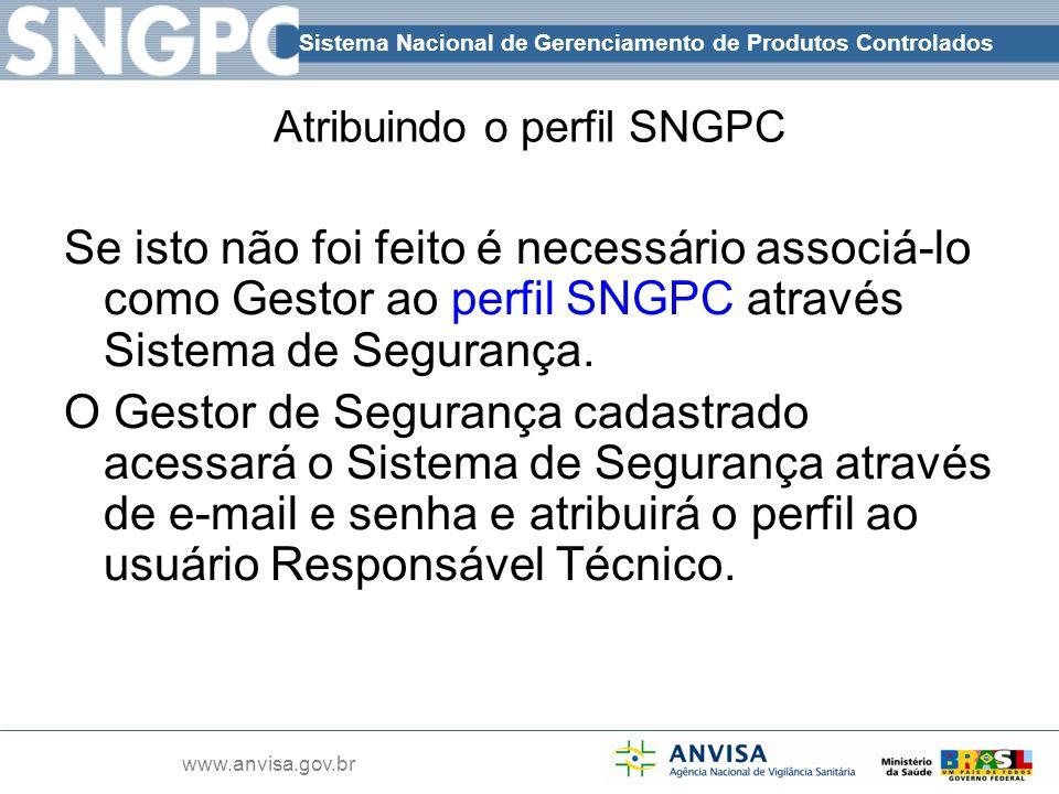 Sistema Nacional de Gerenciamento de Produtos Controlados www.anvisa.gov.br Atribuindo o perfil SNGPC Se isto não foi feito é necessário associá-lo co