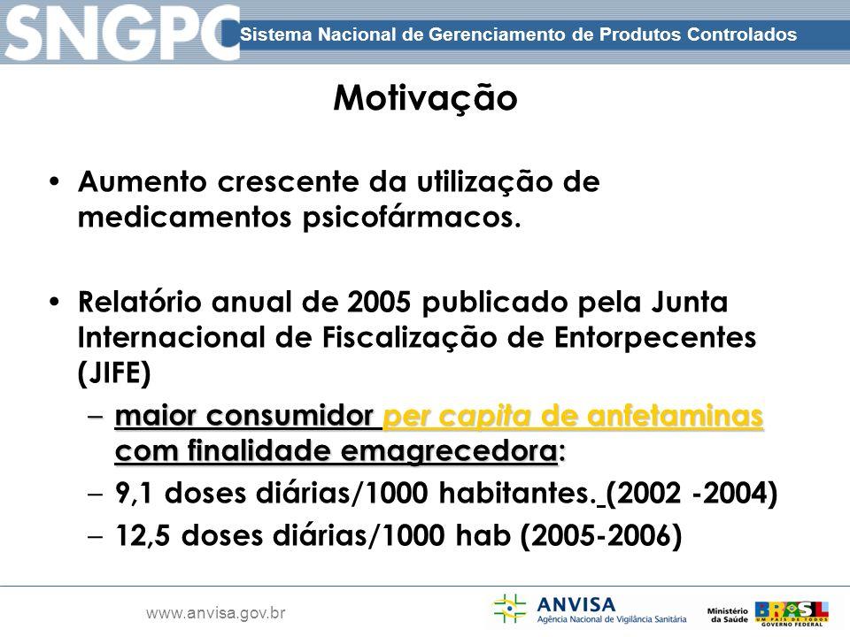 Sistema Nacional de Gerenciamento de Produtos Controlados www.anvisa.gov.br Motivação Aumento crescente da utilização de medicamentos psicofármacos. R