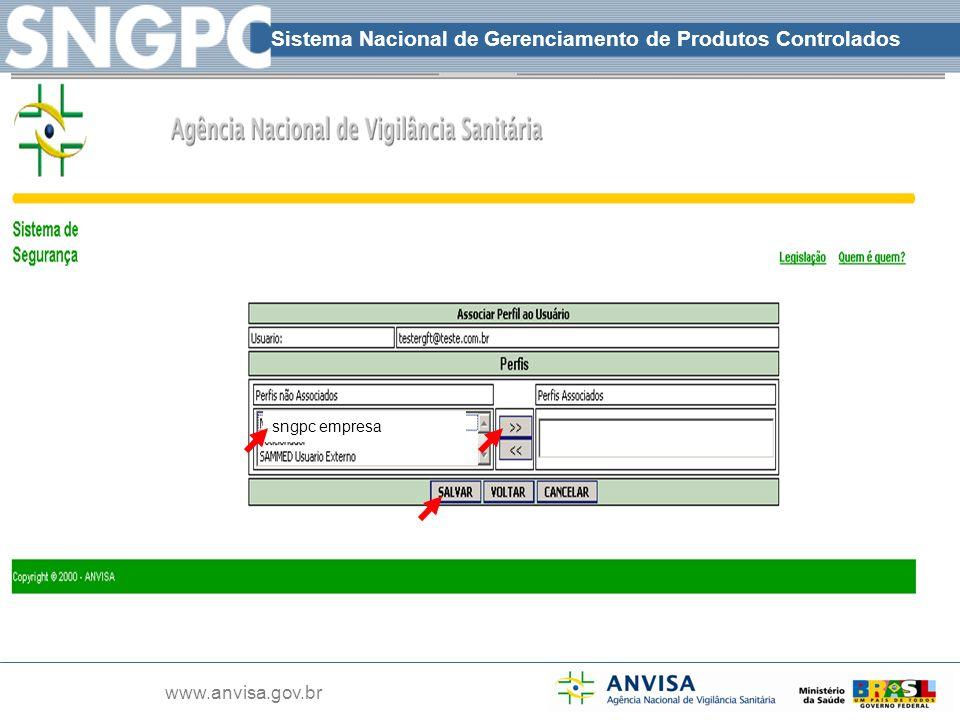 Sistema Nacional de Gerenciamento de Produtos Controlados www.anvisa.gov.br sngpc empresa