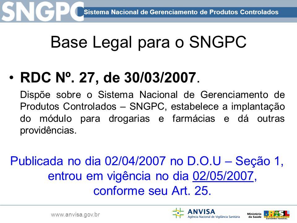 Sistema Nacional de Gerenciamento de Produtos Controlados www.anvisa.gov.br Base Legal para o SNGPC RDC Nº. 27, de 30/03/2007. Dispõe sobre o Sistema