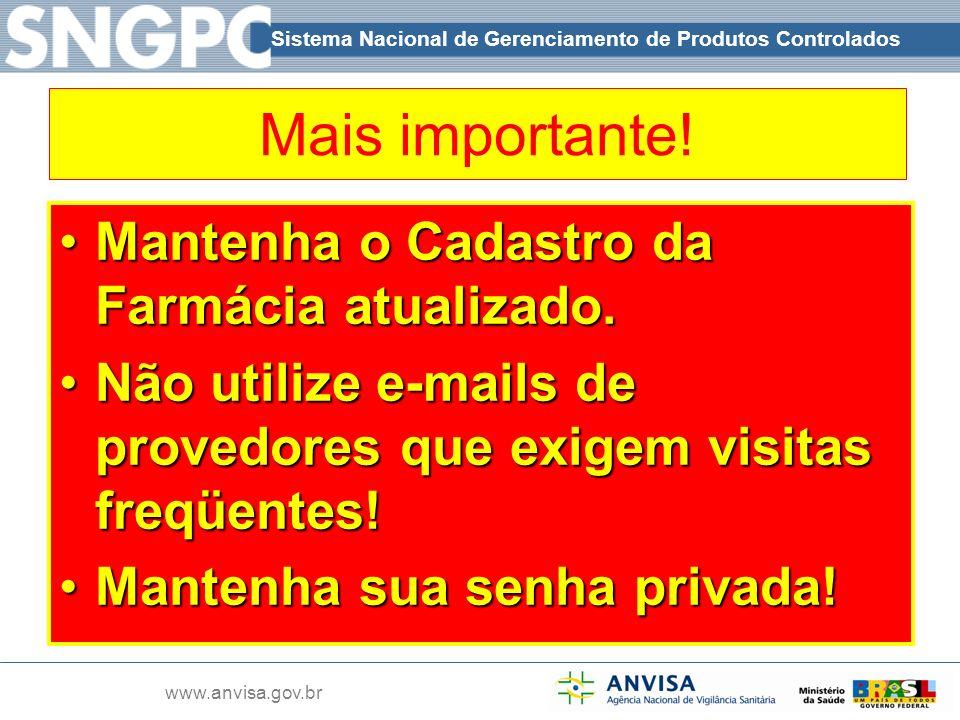 Sistema Nacional de Gerenciamento de Produtos Controlados www.anvisa.gov.br Mais importante! Mantenha o Cadastro da Farmácia atualizado.Mantenha o Cad