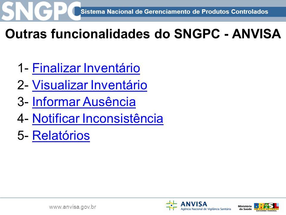 Sistema Nacional de Gerenciamento de Produtos Controlados www.anvisa.gov.br Outras funcionalidades do SNGPC - ANVISA 1- Finalizar Inventário 2- Visual