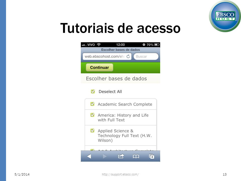 Tutoriais de acesso http://support.ebsco.com/5/1/201413