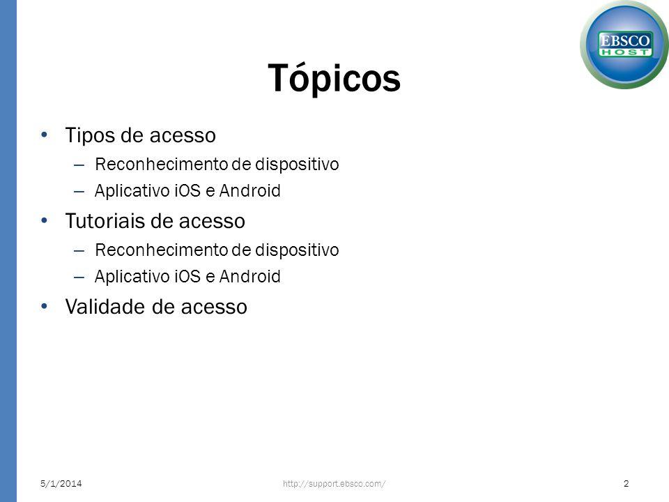 Tópicos Tipos de acesso – Reconhecimento de dispositivo – Aplicativo iOS e Android Tutoriais de acesso – Reconhecimento de dispositivo – Aplicativo iO