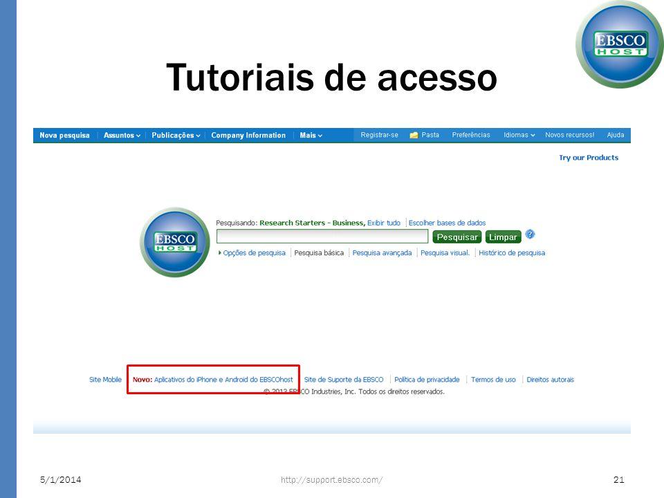 Tutoriais de acesso http://support.ebsco.com/5/1/201421
