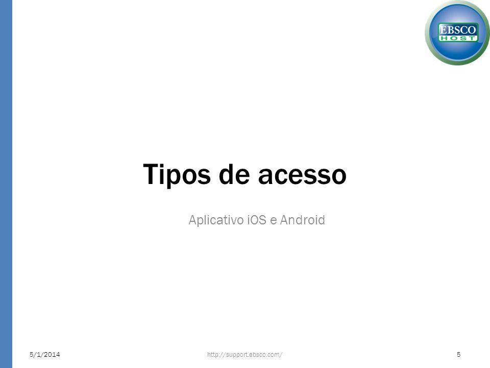Tipos de acesso Aplicativo iOS e Android 5/1/2014http://support.ebsco.com/5