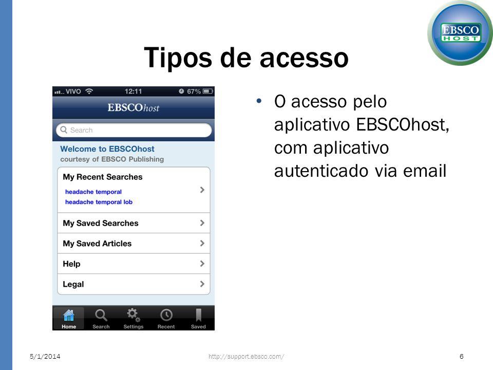 Tipos de acesso O acesso pelo aplicativo EBSCOhost, com aplicativo autenticado via email http://support.ebsco.com/5/1/20146