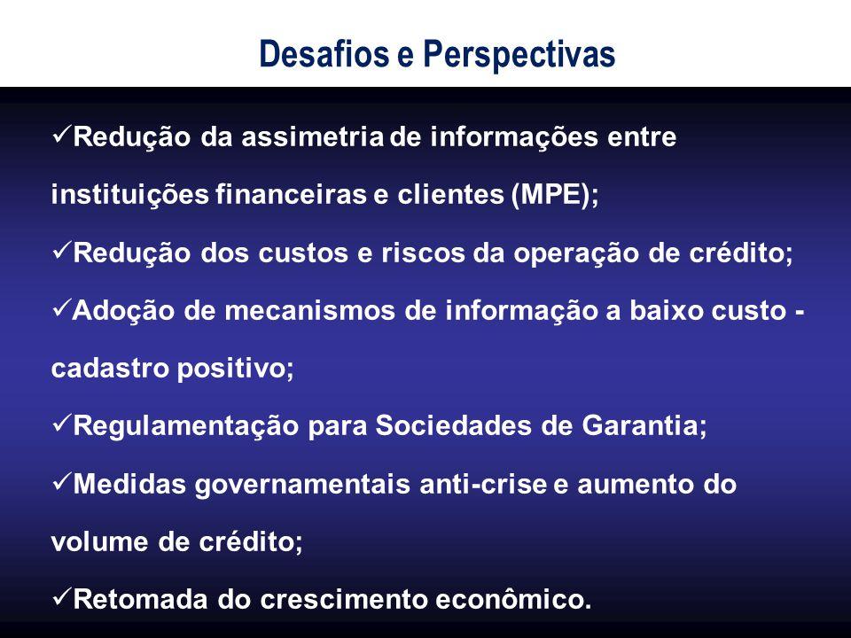 Redução da assimetria de informações entre instituições financeiras e clientes (MPE); Redução dos custos e riscos da operação de crédito; Adoção de me