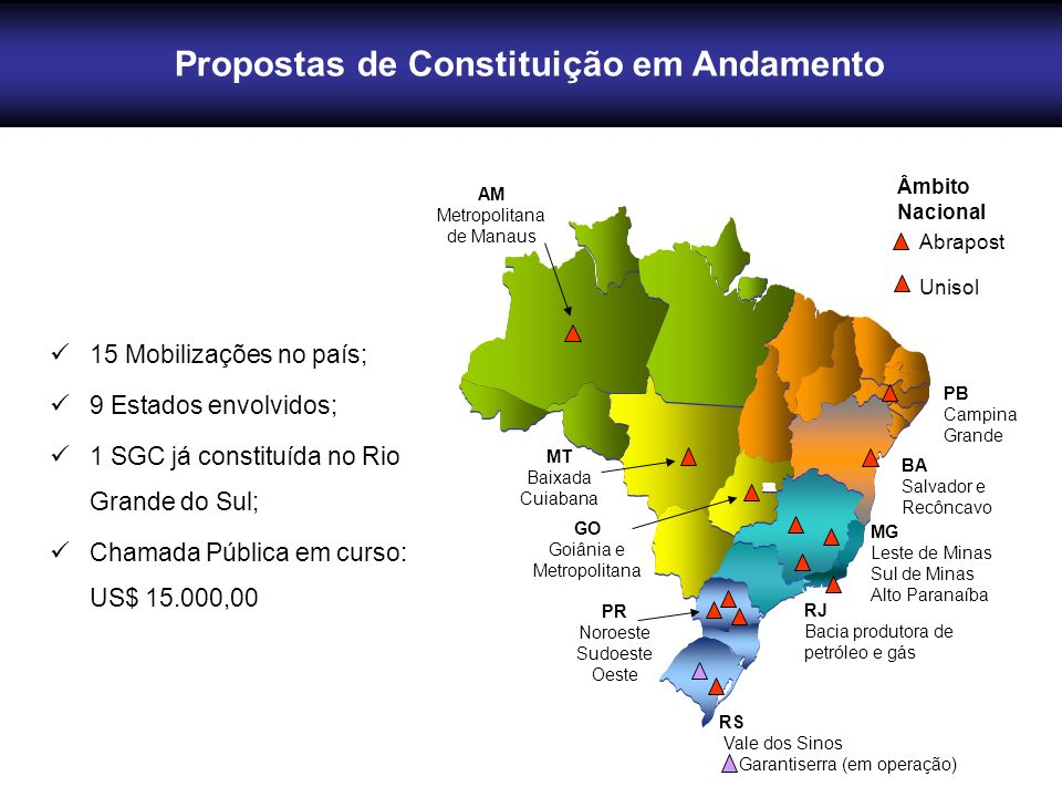 15 Mobilizações no país; 9 Estados envolvidos; 1 SGC já constituída no Rio Grande do Sul; Chamada Pública em curso: US$ 15.000,00 MG Leste de Minas Su