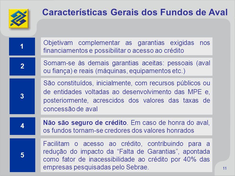 11 Objetivam complementar as garantias exigidas nos financiamentos e possibilitar o acesso ao crédito São constituídos, inicialmente, com recursos púb