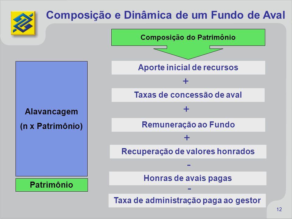 12 Composição e Dinâmica de um Fundo de Aval Patrimônio Alavancagem (n x Patrimônio) Aporte inicial de recursos + Remuneração ao Fundo Taxas de conces