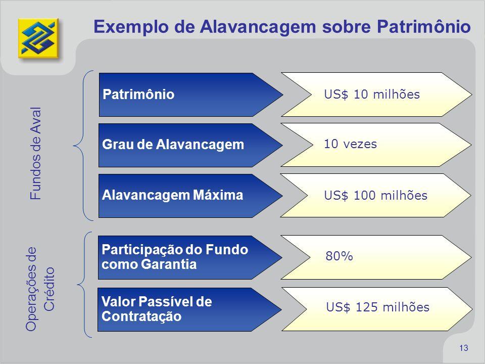 13 Exemplo de Alavancagem sobre Patrimônio Patrimônio US$ 10 milhões Participação do Fundo como Garantia 80% Grau de Alavancagem 10 vezes Alavancagem