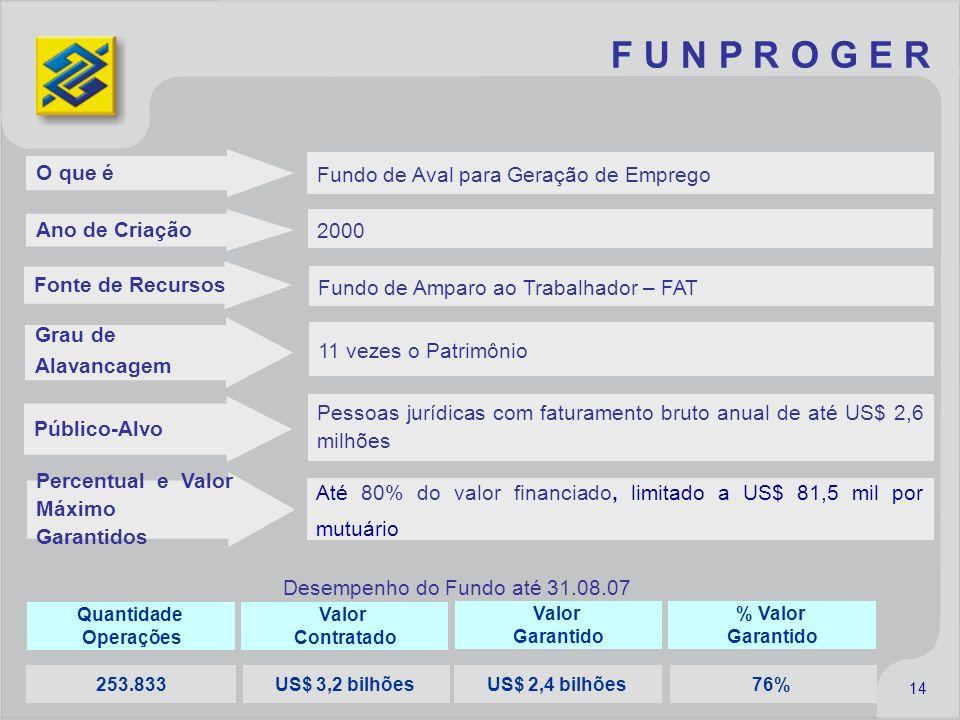 F U N P R O G E R Quantidade Operações Valor Garantido Valor Contratado % Valor Garantido Desempenho do Fundo até 31.08.07 253.833 US$ 2,4 bilhõesUS$