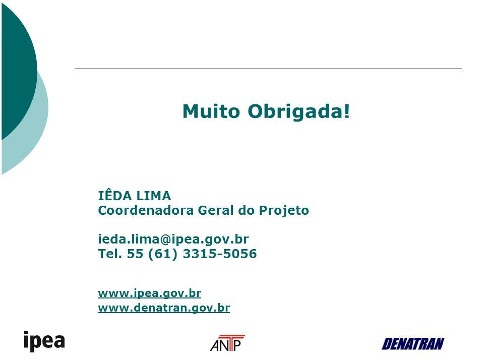 Muito Obrigada.IÊDA LIMA Coordenadora Geral do Projeto ieda.lima@ipea.gov.br Tel.