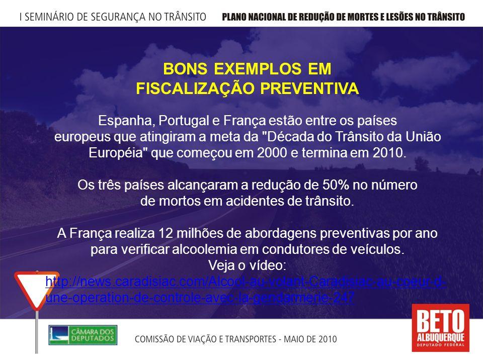 BONS EXEMPLOS EM FISCALIZAÇÃO PREVENTIVA Espanha, Portugal e França estão entre os países europeus que atingiram a meta da Década do Trânsito da União Européia que começou em 2000 e termina em 2010.