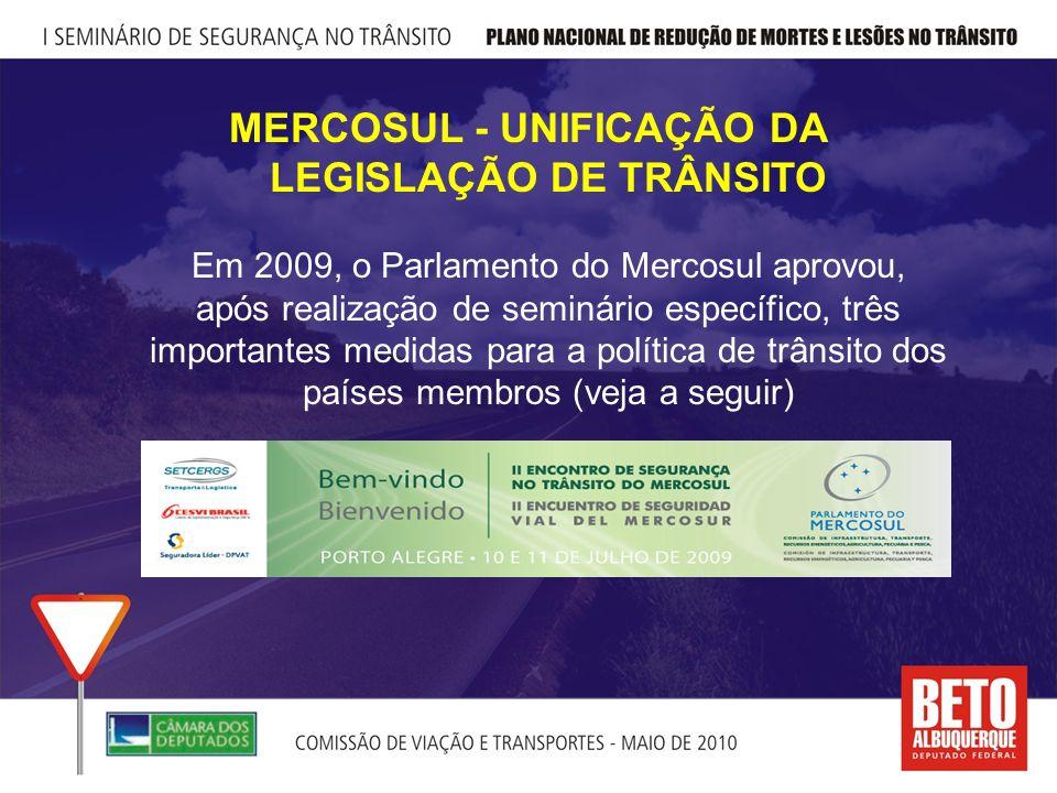 MERCOSUL - UNIFICAÇÃO DA LEGISLAÇÃO DE TRÂNSITO Em 2009, o Parlamento do Mercosul aprovou, após realização de seminário específico, três importantes medidas para a política de trânsito dos países membros (veja a seguir)