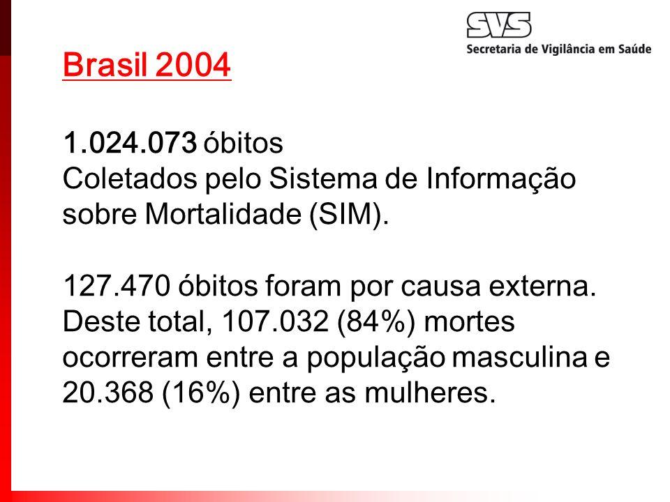 Brasil 2004 1.024.073 óbitos Coletados pelo Sistema de Informação sobre Mortalidade (SIM). 127.470 óbitos foram por causa externa. Deste total, 107.03