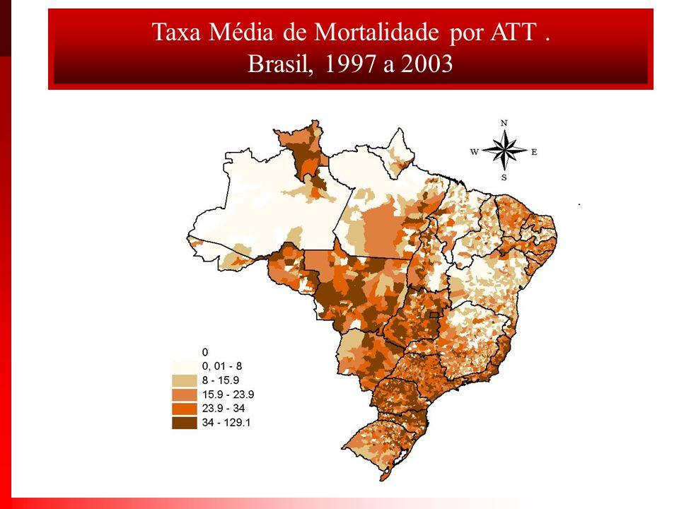 Taxas padronizadas de óbitos por acidentes por transporte terrestre.