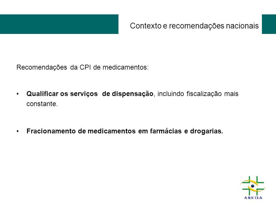 Contexto e recomendações nacionais Recomendações da CPI de medicamentos: Qualificar os serviços de dispensação, incluindo fiscalização mais constante.
