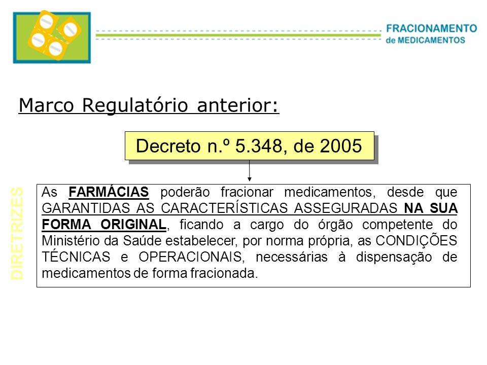 Decreto n.º 5.348, de 2005 As FARMÁCIAS poderão fracionar medicamentos, desde que GARANTIDAS AS CARACTERÍSTICAS ASSEGURADAS NA SUA FORMA ORIGINAL, fic