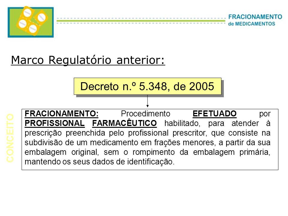 Decreto n.º 5.348, de 2005 FRACIONAMENTO: Procedimento EFETUADO por PROFISSIONAL FARMACÊUTICO habilitado, para atender à prescrição preenchida pelo pr