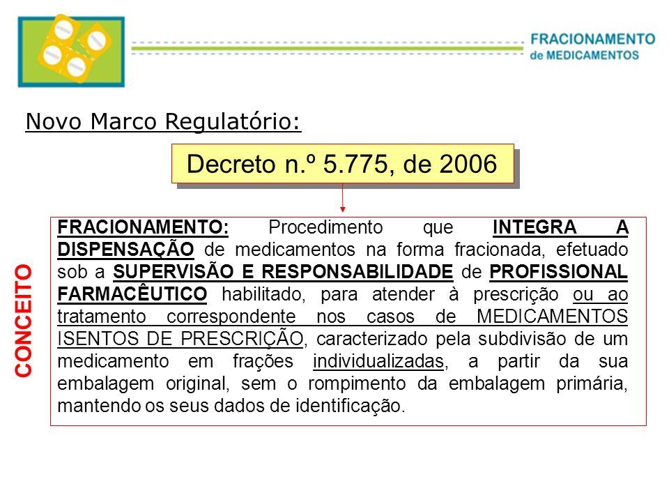 Decreto n.º 5.775, de 2006 FRACIONAMENTO: Procedimento que INTEGRA A DISPENSAÇÃO de medicamentos na forma fracionada, efetuado sob a SUPERVISÃO E RESP