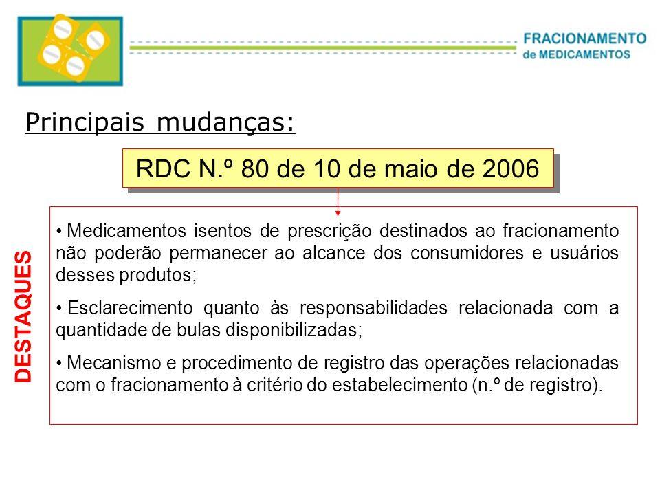 RDC N.º 80 de 10 de maio de 2006 Medicamentos isentos de prescrição destinados ao fracionamento não poderão permanecer ao alcance dos consumidores e u