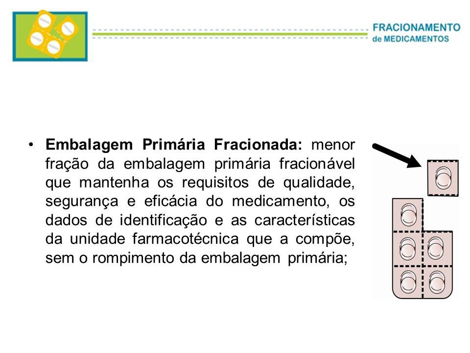 Embalagem Primária Fracionada: menor fração da embalagem primária fracionável que mantenha os requisitos de qualidade, segurança e eficácia do medicam