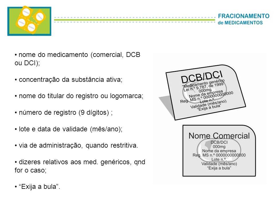 nome do medicamento (comercial, DCB ou DCI); concentração da substância ativa; nome do titular do registro ou logomarca; número de registro (9 dígitos