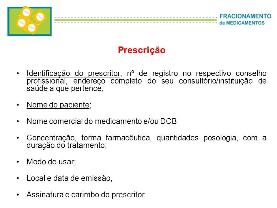 Prescrição Identificação do prescritor, nº de registro no respectivo conselho profissional, endereço completo do seu consultório/instituição de saúde