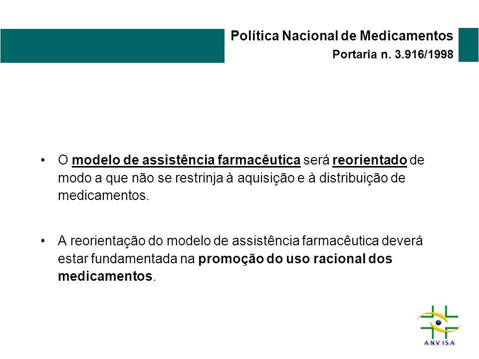 Política Nacional de Medicamentos Portaria n. 3.916/1998 O modelo de assistência farmacêutica será reorientado de modo a que não se restrinja à aquisi