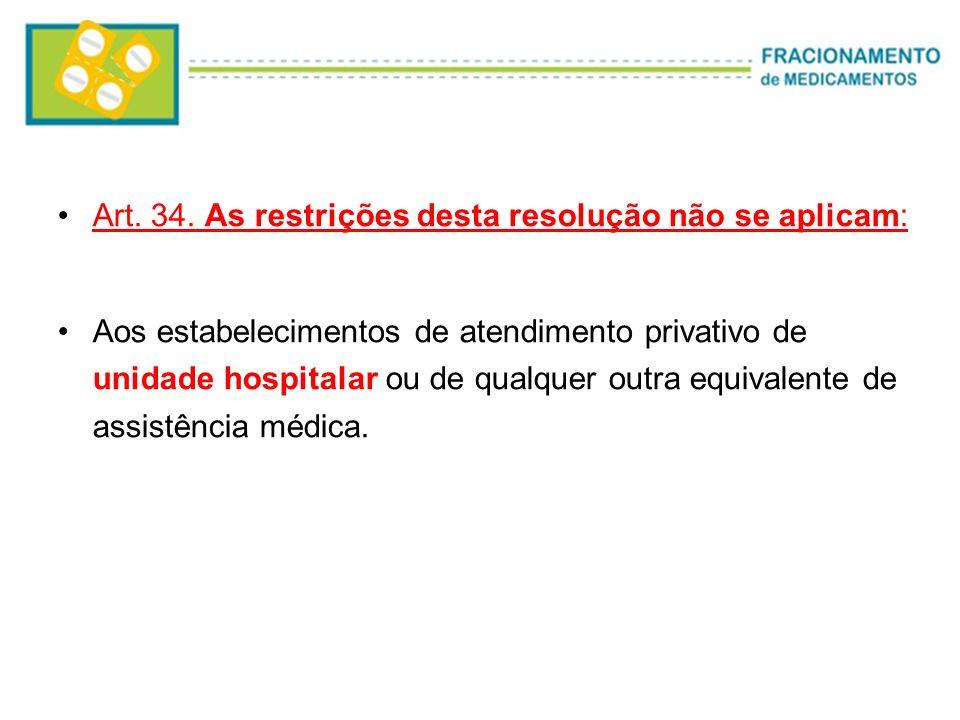 Art. 34. As restrições desta resolução não se aplicam: Aos estabelecimentos de atendimento privativo de unidade hospitalar ou de qualquer outra equiva