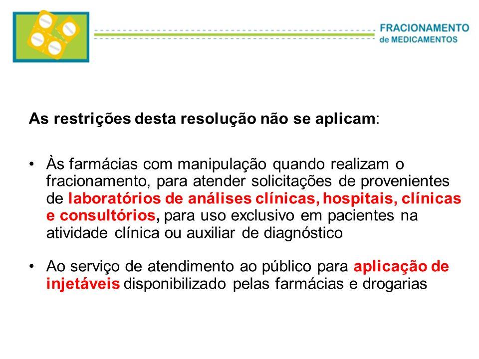 As restrições desta resolução não se aplicam: Às farmácias com manipulação quando realizam o fracionamento, para atender solicitações de provenientes