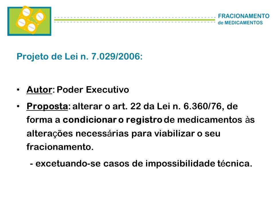 Projeto de Lei n. 7.029/2006: Autor: Poder Executivo Proposta: alterar o art. 22 da Lei n. 6.360/76, de forma a condicionar o registro de medicamentos