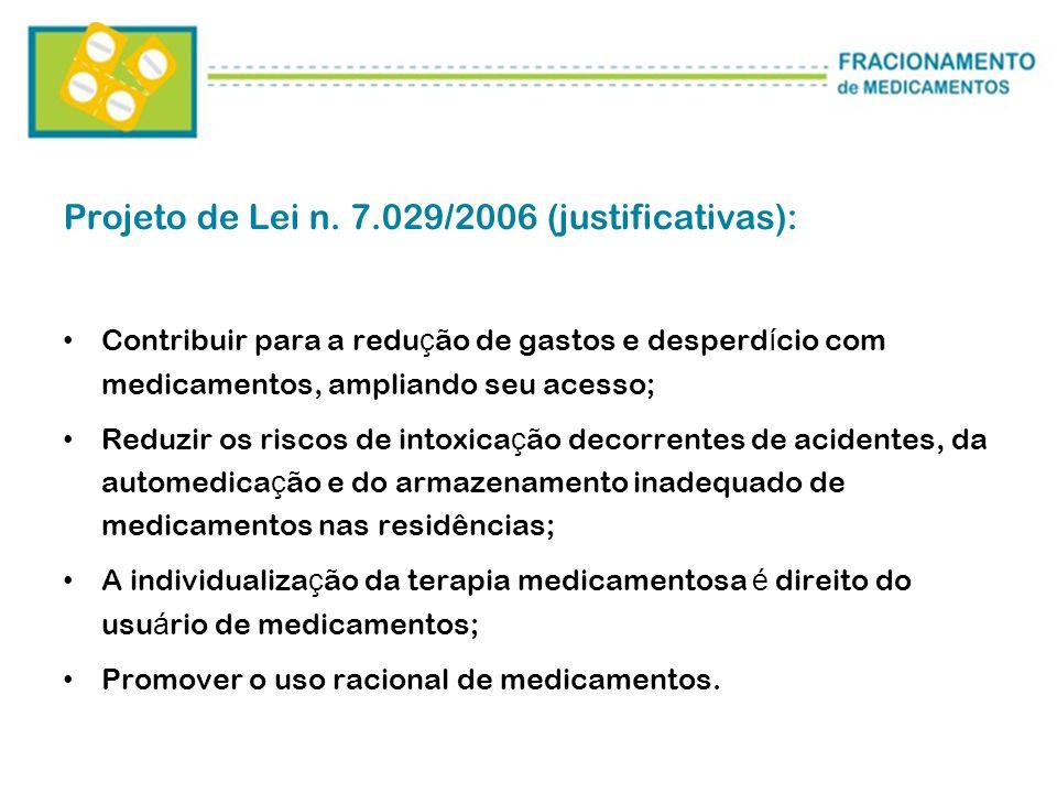 Projeto de Lei n. 7.029/2006 (justificativas): Contribuir para a redu ç ão de gastos e desperd í cio com medicamentos, ampliando seu acesso; Reduzir o