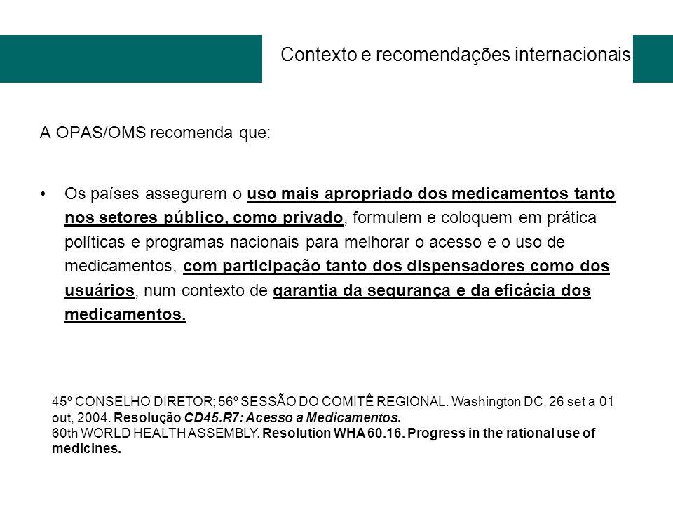Contexto e recomendações internacionais A OPAS/OMS recomenda que: Os países assegurem o uso mais apropriado dos medicamentos tanto nos setores público