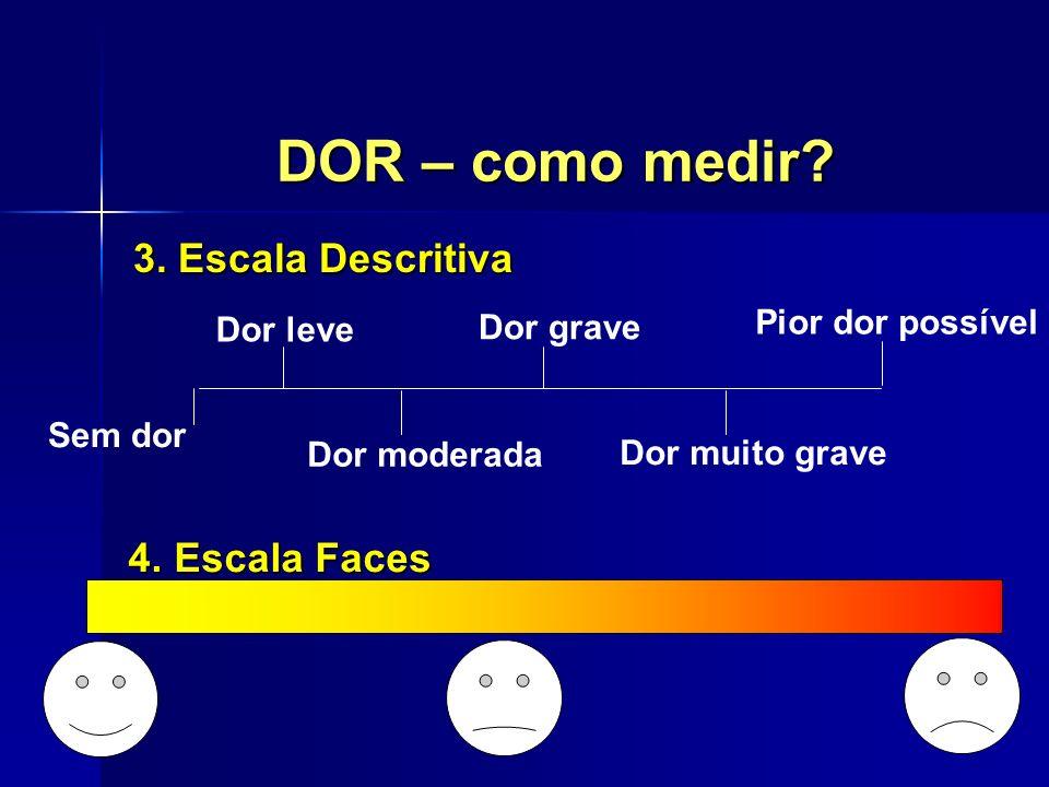 DOR – como medir? 3. Escala Descritiva Sem dor Dor leve Dor moderada Dor grave Dor muito grave Pior dor possível 4. Escala Faces 4. Escala Faces