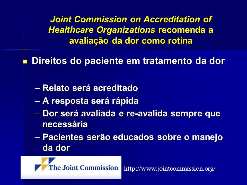 Joint Commission on Accreditation of Healthcare Organizations recomenda a avaliação da dor como rotina Direitos do paciente em tratamento da dor Direi