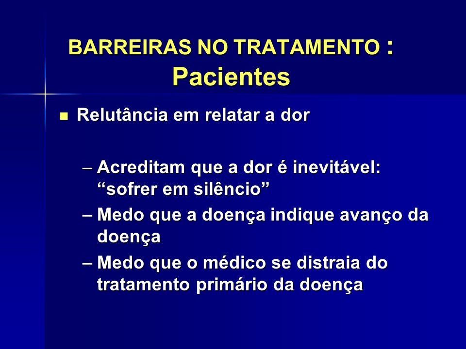 BARREIRAS NO TRATAMENTO : Pacientes Relutância em relatar a dor Relutância em relatar a dor –Acreditam que a dor é inevitável: sofrer em silêncio –Med