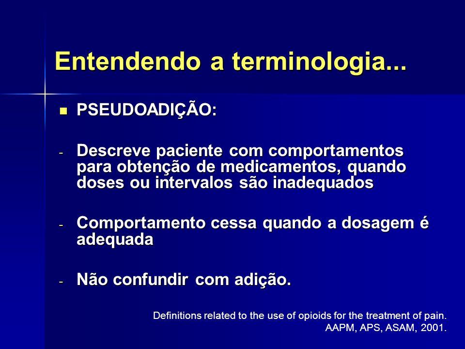 Entendendo a terminologia... PSEUDOADIÇÃO: PSEUDOADIÇÃO: - Descreve paciente com comportamentos para obtenção de medicamentos, quando doses ou interva