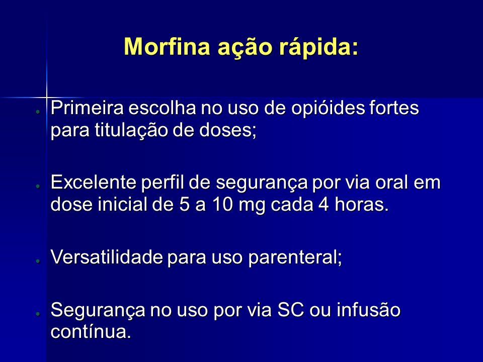 Morfina ação rápida: Primeira escolha no uso de opióides fortes para titulação de doses; Primeira escolha no uso de opióides fortes para titulação de
