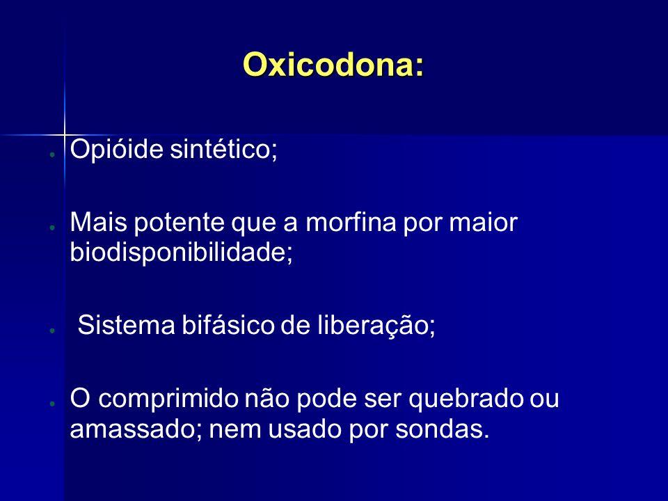 Oxicodona: Opióide sintético; Mais potente que a morfina por maior biodisponibilidade; Sistema bifásico de liberação; O comprimido não pode ser quebra