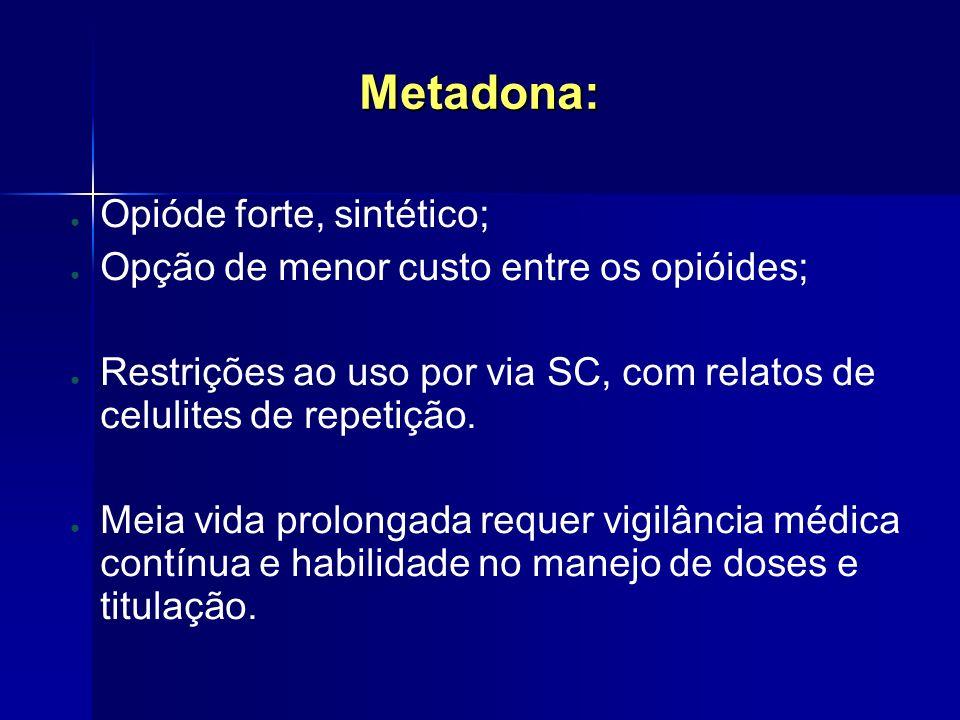 Metadona: Opióde forte, sintético; Opção de menor custo entre os opióides; Restrições ao uso por via SC, com relatos de celulites de repetição. Meia v