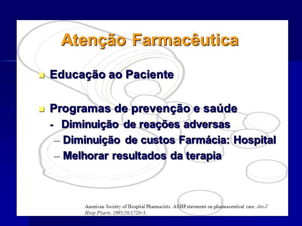 Atenção Farmacêutica Educação ao Paciente Educação ao Paciente Programas de prevenção e saúde Programas de prevenção e saúde - Diminuição de reações a