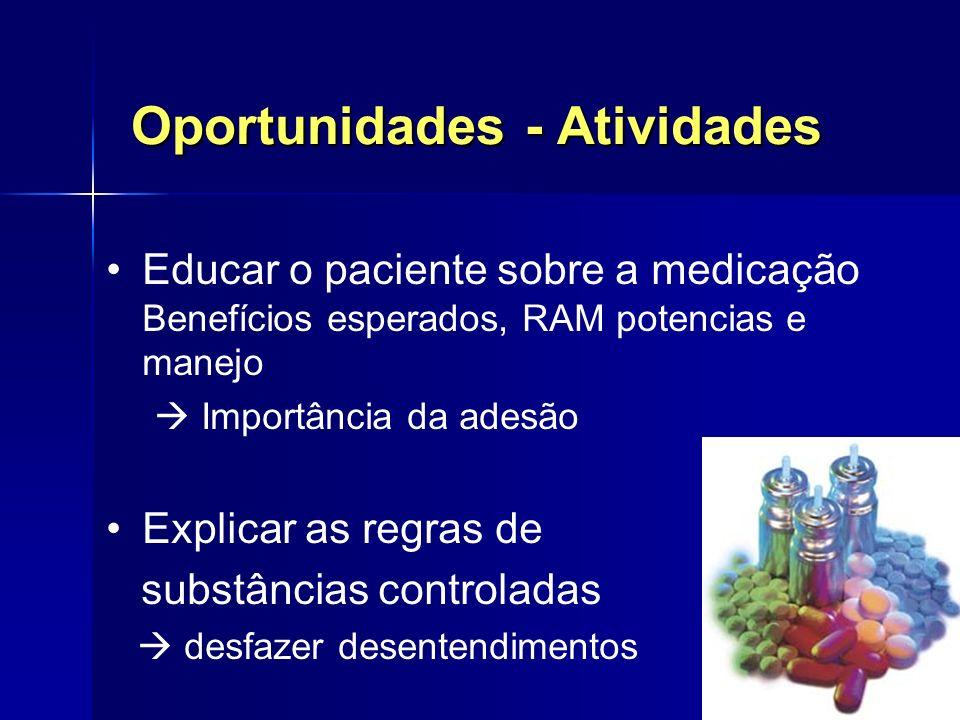 Oportunidades - Atividades Educar o paciente sobre a medicação Benefícios esperados, RAM potencias e manejo Importância da adesão Explicar as regras d